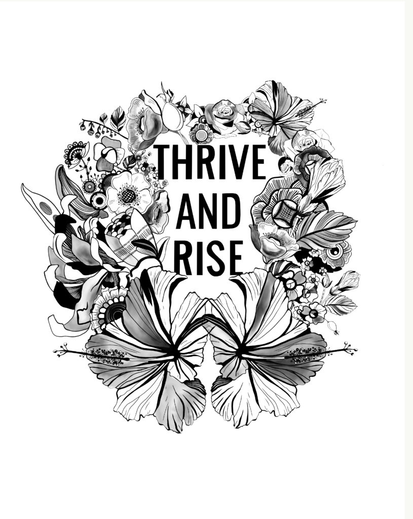 Jamie Smith THRIVE Art Studio RISE Kombucha illustration